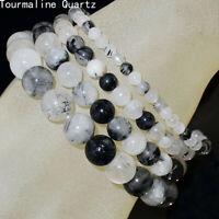 Natural 4mm 6mm 8mm 10mm Tourmaline Quartz Gemstone Beads Stretch Bracelet