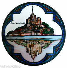 STAINED GLASS WINDOW ART - STATIC CLING  DECORATION - ST MICHAEL MOUNT FRANCE