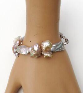Süßwasser Perlen Keshi Perlen Biwa Perlen Armband Unikat Perlen Armband  4656