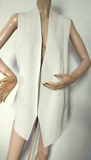 Eileen Fisher Pale Taupe Open Front Silk Organic Cotton Asymmetrical Knit Vest L