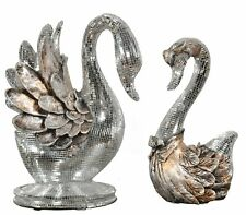 Galena Swans Set Of 2 Accessories marble Statuary  Resin Multi Colored