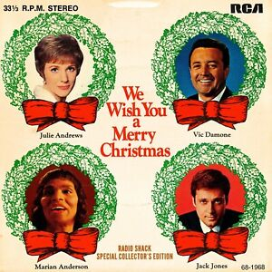 """We Wish You A Merry Christmas 4 song EP 7"""" 33rpm Radio Shack 68-1968 P/S"""
