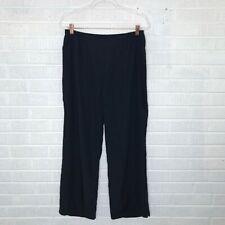 Citron Petite Large PL Silk Black Wide Leg Pants Elastic Waist Pull On Lagenlook