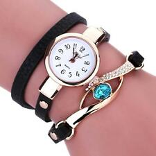 New Sale Women Diamond Wrap Around Leatheroid Analog Quartz Bracelet Wrist Watch