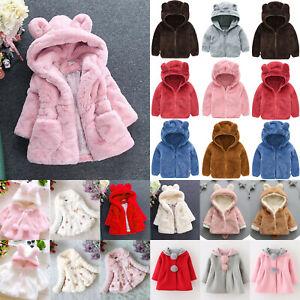 Kids Baby Girls Travel Faux Fur Fleece Hooded Jacket Coat Outwear Snowsuit Tops