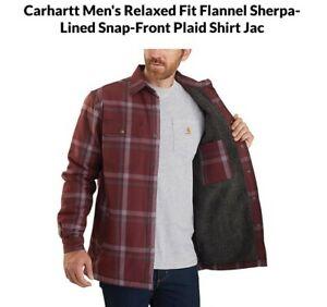 3XLT Carhartt Relaxed Fit Flannel Sherpa-Lined Snap shirt jac NWT dark cedar
