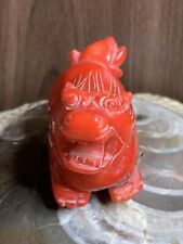 Carved Red Stone Chinese Lion Figurine