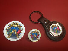 STARGATE COMMAND  LEATHER KEY RING, GOLD PLATED BADGE  +   PHONE STICKER