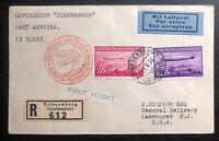 1936 Lichtenstein Hindenburg Zeppelin cover to LakeHurst USA # C15 C16 LZ129 B