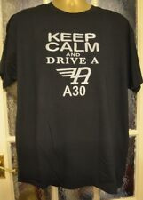 AUSTIN A30 T SHIRT KEEP CALM AND DRIVE A  BLACK FOTL GARMENT EMBROIDERED