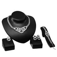 Fashion Chain Choker Bib Statement Charm Circle Pendant Necklace Jewelry Set BR