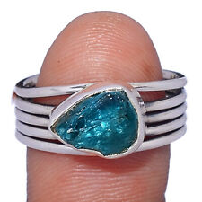 Neon Blue Apatite 925 Sterling Silver Ring Jewelry s.8.5 AR198247 221A