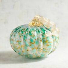 Pier 1 Imports Glass Pumpkin Blue and Amber LED Light Up Medium New