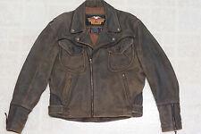 Harley Davidson Men's Billings Distressed Brown Leather Jacket Winged HD Logo L