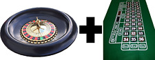 NEW AND BOXED LARGE 16 INCH ROULETTE WHEEL WITH BALLS + GREEN ROULETTE FELT