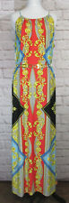 Roz Ali Comfy Colorful Floral Paisley Long Stretch Maxi Belted Dress SZ 14 #7070