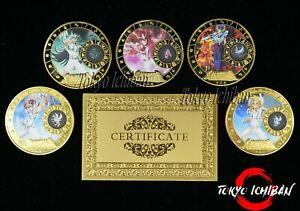 5 Pièces Saint Seiya - Metal Gold Coin / Carte Card - Chevaliers Zodiaque Billet