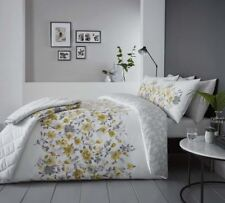 FLORAL WATERCOLOUR-STYLE YELLOW QUILTED 229 X 195CM BEDSPREAD