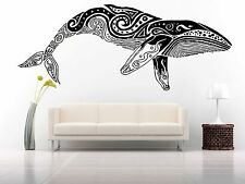 Wall Room Decor Art Vinyl Sticker Mural Decal Tribal Tattoo Pattern Whale FI486