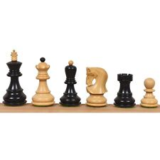 """2.6"""" Russian Zagreb Chess Pieces Only set - Weighted Ebonised Boxwood"""