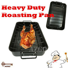 45*28CM ROASTING PAN WITH RACK Roast NON-STICK Carbon Steel Heavy Duty 2.8kgs