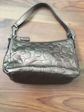 Coach Bronze Metallic Patent Leather Shoulder Purse Small Handbag
