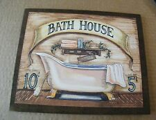 9x11 Rustic country wood Victorian BATH HOUSE Room Bathroom retro Bath Sign