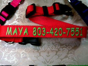 "Personalized Custom Embroidered ,,Adjustable Dog Collars 1"" , 3/4"", 5/8"" Wide"