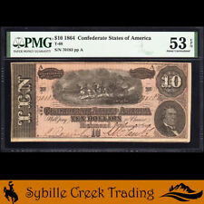 T-68 1864 $10 CONFEDERATE CURRENCY  PMG 53 EPQ *CIVIL WAR BILL*  70183