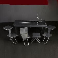 1/6 Scale Furniture Desk Table Flat Black Color Folding Portable Figure Toys