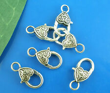 30 Silver Tone Lobster Clasps Claw Hearts Pattern DIY Jewelry Findings 25x12mm