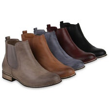 Damen Stiefeletten Chelsea Boots Warm Gefütterte Leder-Optik 819426 Schuhe