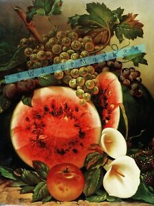 Calla Lilies and Fruit Still Life Art Vintage Poster Print Retro Kitchen Art