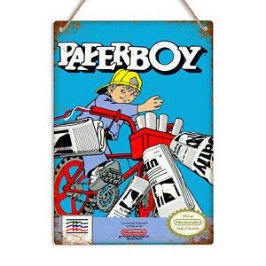 PAPERBOY Metal Wall Sign Vintage Retro 80's Gaming Arcade 8bit NES Game Man Cave
