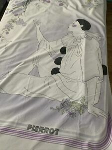 Vintage 80s Pierrot Duvet Cover single Clown Rare Lilac & White girls teenage