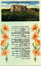 """Mt Montana: """"Out Where the West Begins"""" (Poem) Pompey's Pillar Unposted Linen"""