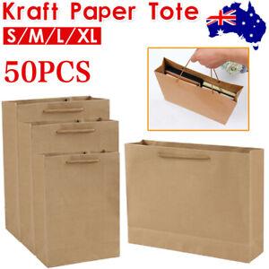 50/100 Pcs Kraft Paper Bags Bulk Gift Shopping Storage Carry Brown Bag& Handles