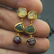Handmade Rough Citrin Apatite Ruby Earring Gold Over 925K Sterling Silver