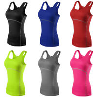 Women Quick Dry Tight Sports Vest Tank Tops Gym Yoga Fitness Athletic Sportswear