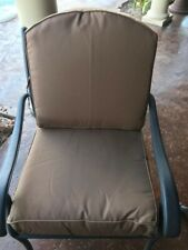 outdoor patio chair cushion seat and back, Brown Sunbrella fabric,approx 24by 24