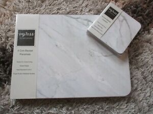 Set 6 Place Mats and Matching Coasters IMPRESS WHITE MARBLE Home Dining BNIB