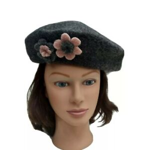 La Fenice Wool Beret Hat Hand Made Italian Womens French Cap Winter Gray Floral