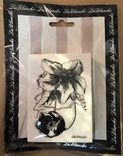 New LA BLANCHE Silicone Rubber Stamp Flower & Bud botanical free USA ship