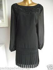 MONSOON BLACK BEADED PLEATED HEM XMAS PARTY NEW YEARS EVENING TUNIC DRESS 14
