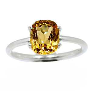 Citrine - Brazil 925 Sterling Silver Ring Jewelry s.9 BR98374