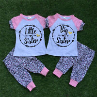 Newborn Baby Little Sister Big Sister T-shirt Top Pants Cotton Clothes Outfit US