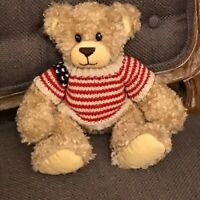 RETIRED First & Main PATRIOTIC PETE TEDDY BEAR American Flag Sweater Tush Tag