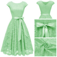 Womens Vintage Scoop Neck Cap Sleeve Lace A-Line Holiday Party Dresses Prom Gown