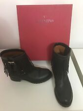 VALENTINO BLACK LEATHER DOUBLE BUCKLE FRINGE ANKLE MOTORCYCLE BOOTS SIZE 37 / 7