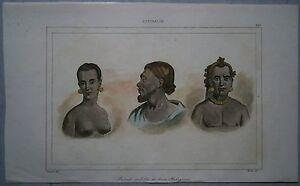 1836 print PORTRAITS OF THREE ABORIGINES, AUSTRALIA (#261)